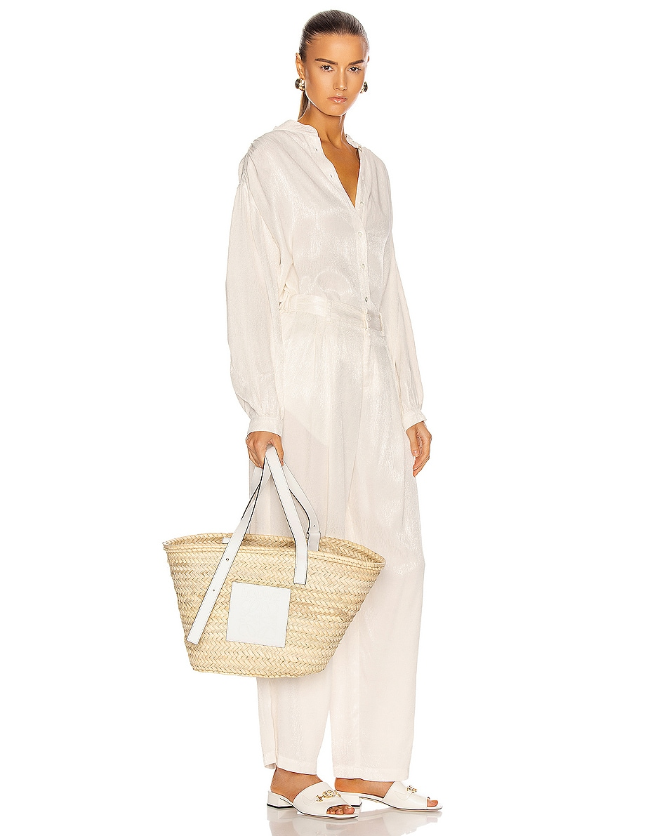 Image 2 of Loewe Basket Bag in Natural & White