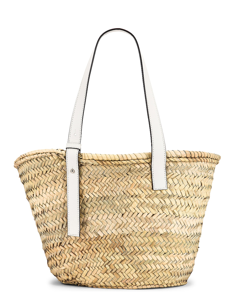 Image 3 of Loewe Basket Bag in Natural & White