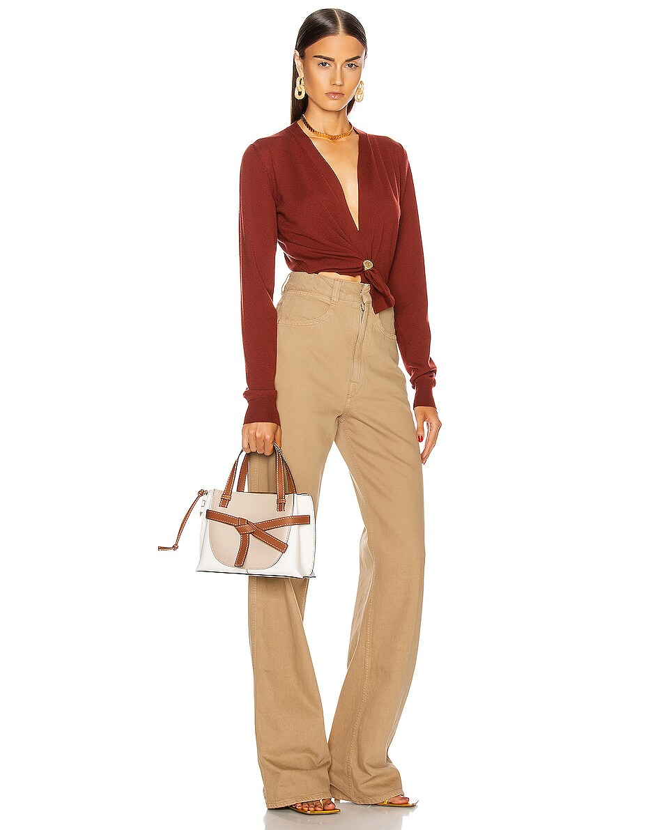 Image 2 of Loewe Gate Top Handle Mini Bag in Light Oat & Soft White