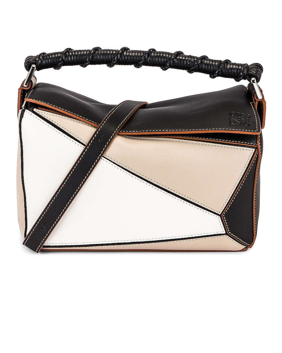 Image 1 of Loewe Puzzle Craft Small Bag in Light Oat & Black