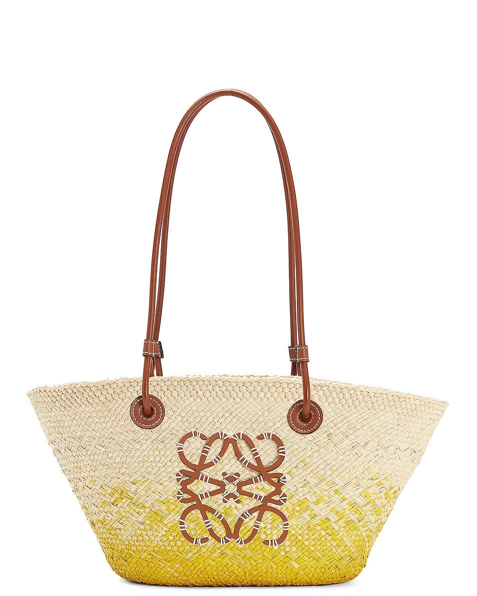Image 1 of Loewe Paula's Ibiza Anagram Basket Degrade Small Bag in Natural & Yellow