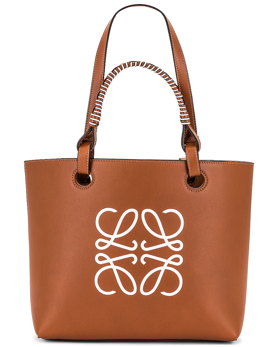 Image 1 of Loewe Anagram Small Tote Bag in Tan & Soft White