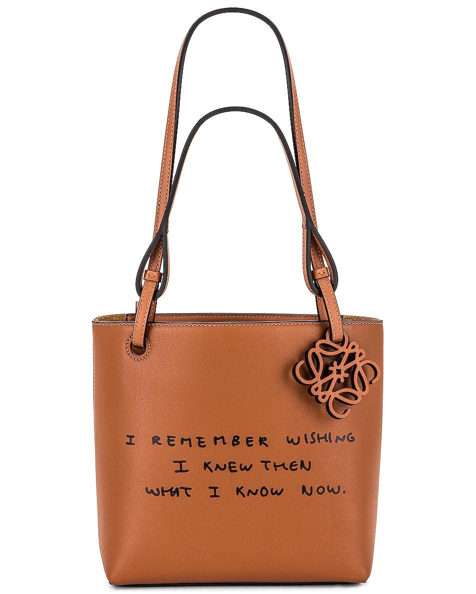Image 1 of Loewe Joe Brainard DH Square Words Tote Bag in Tan