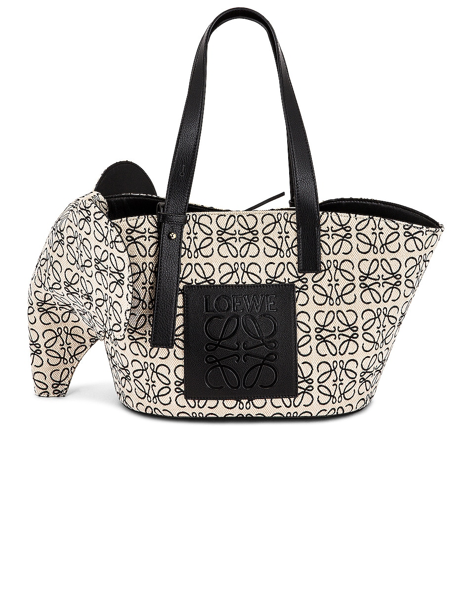 Image 1 of Loewe Elephant Basket Anagram Bag in Ecru & Black