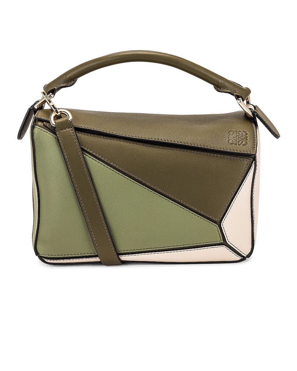 Image 1 of Loewe Puzzle Small Bag in Autumn Green & Light Oat