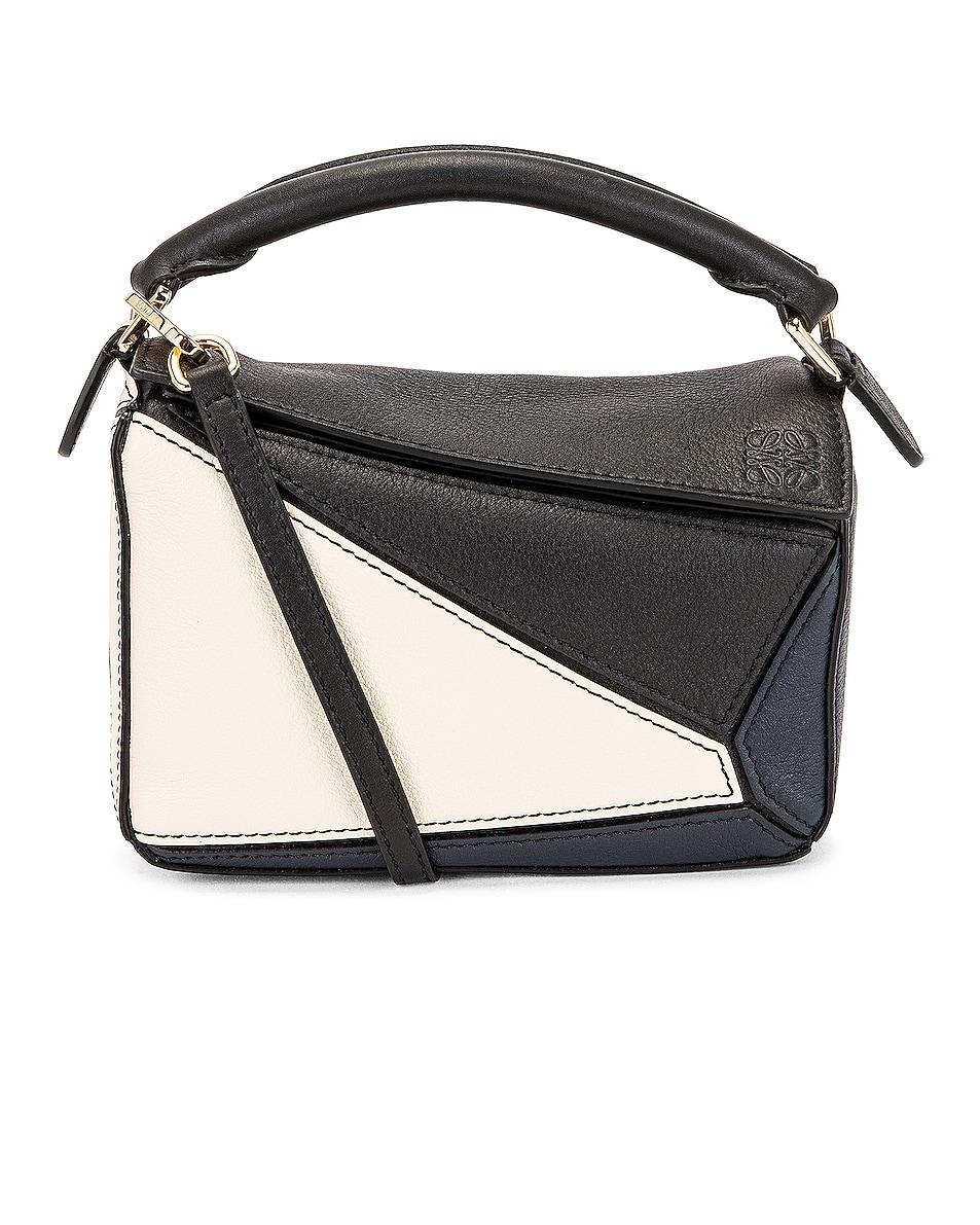 Image 1 of Loewe Puzzle Mini Bag in Black & Angora