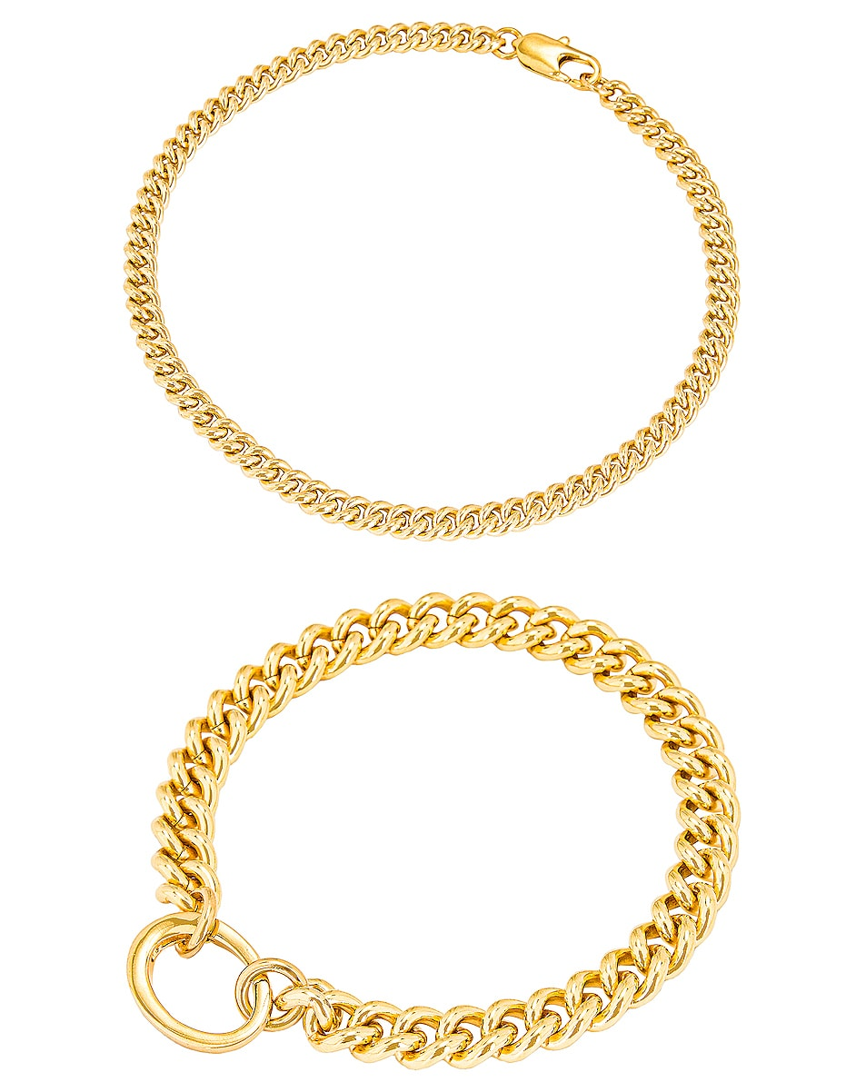 Image 1 of LAURA LOMBARDI for FWRD Presa and Curb Chain Anklet in Gold