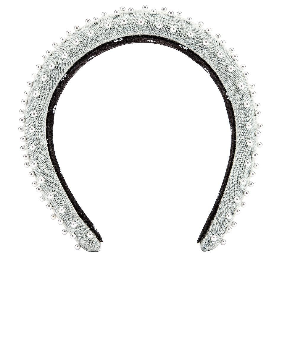 Image 1 of Lele Sadoughi Petite Padded Beaded Headband in Light Denim
