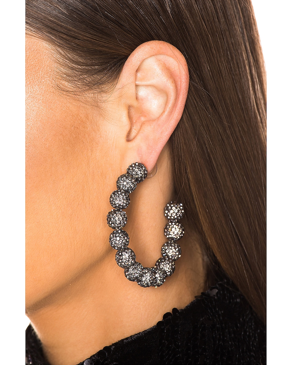 Image 2 of Lele Sadoughi Stardust Crystal Hoop Earrings in Black Diamond