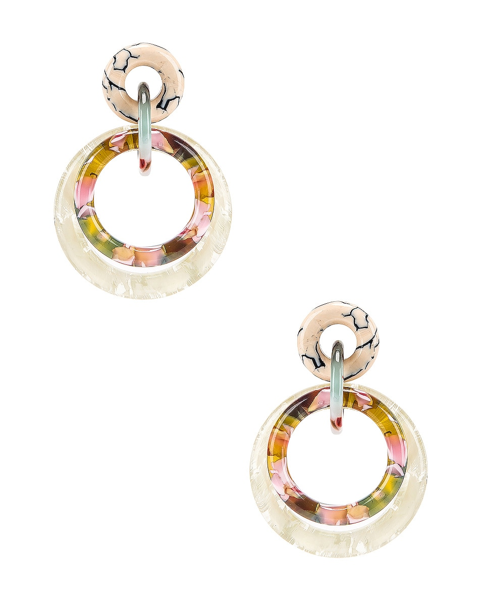 Image 1 of Lele Sadoughi Double Ring Hoop Earrings in Bone