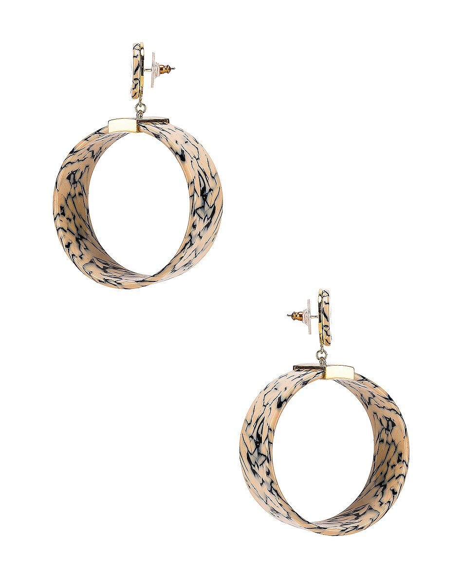 Image 3 of Lele Sadoughi Binocular Hoop Earrings in Splatter Paint