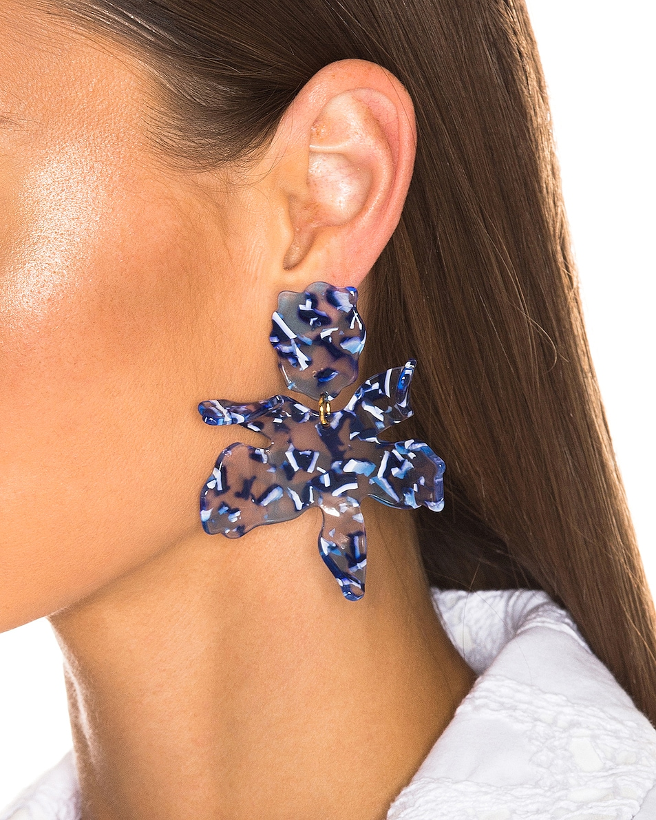 Image 2 of Lele Sadoughi Paper Lily Earrings in Ocean Blue