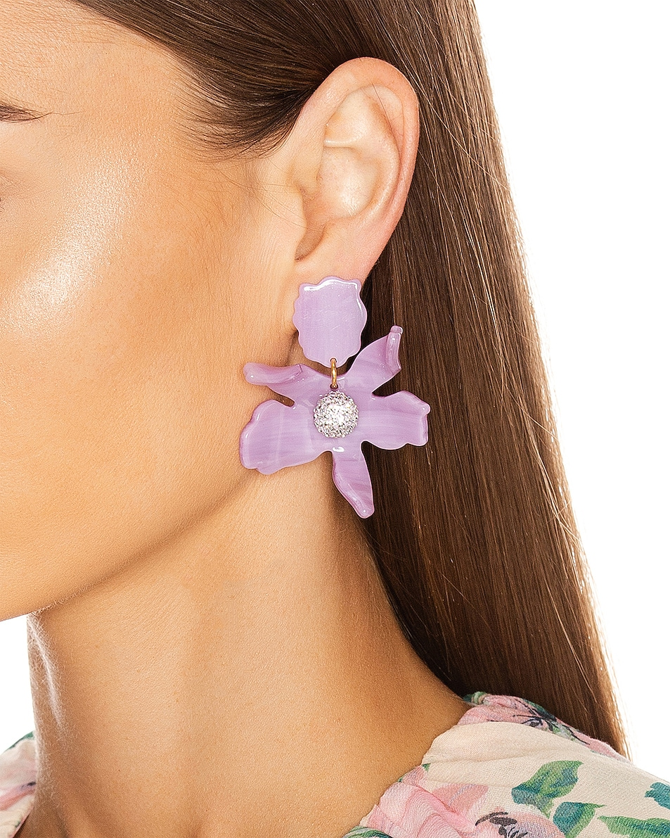 Image 2 of Lele Sadoughi Small Crystal Lily Earrings in Lilac
