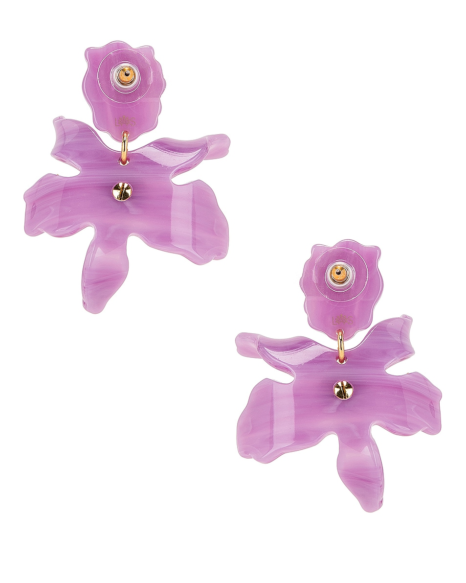 Image 4 of Lele Sadoughi Small Crystal Lily Earrings in Lilac