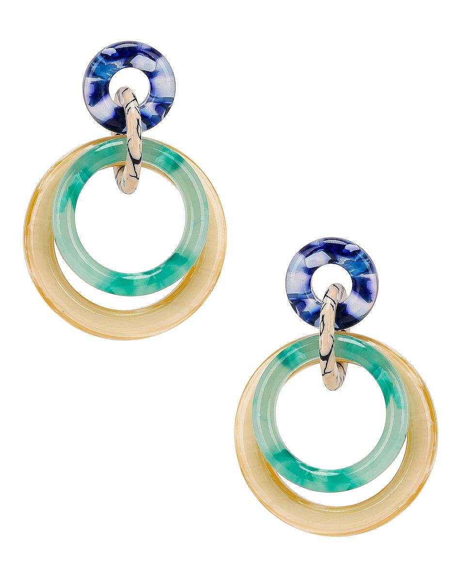 Image 1 of Lele Sadoughi Double Ring Hoop Earrings in Bottle Green
