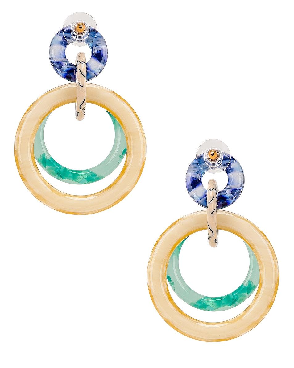 Image 4 of Lele Sadoughi Double Ring Hoop Earrings in Bottle Green