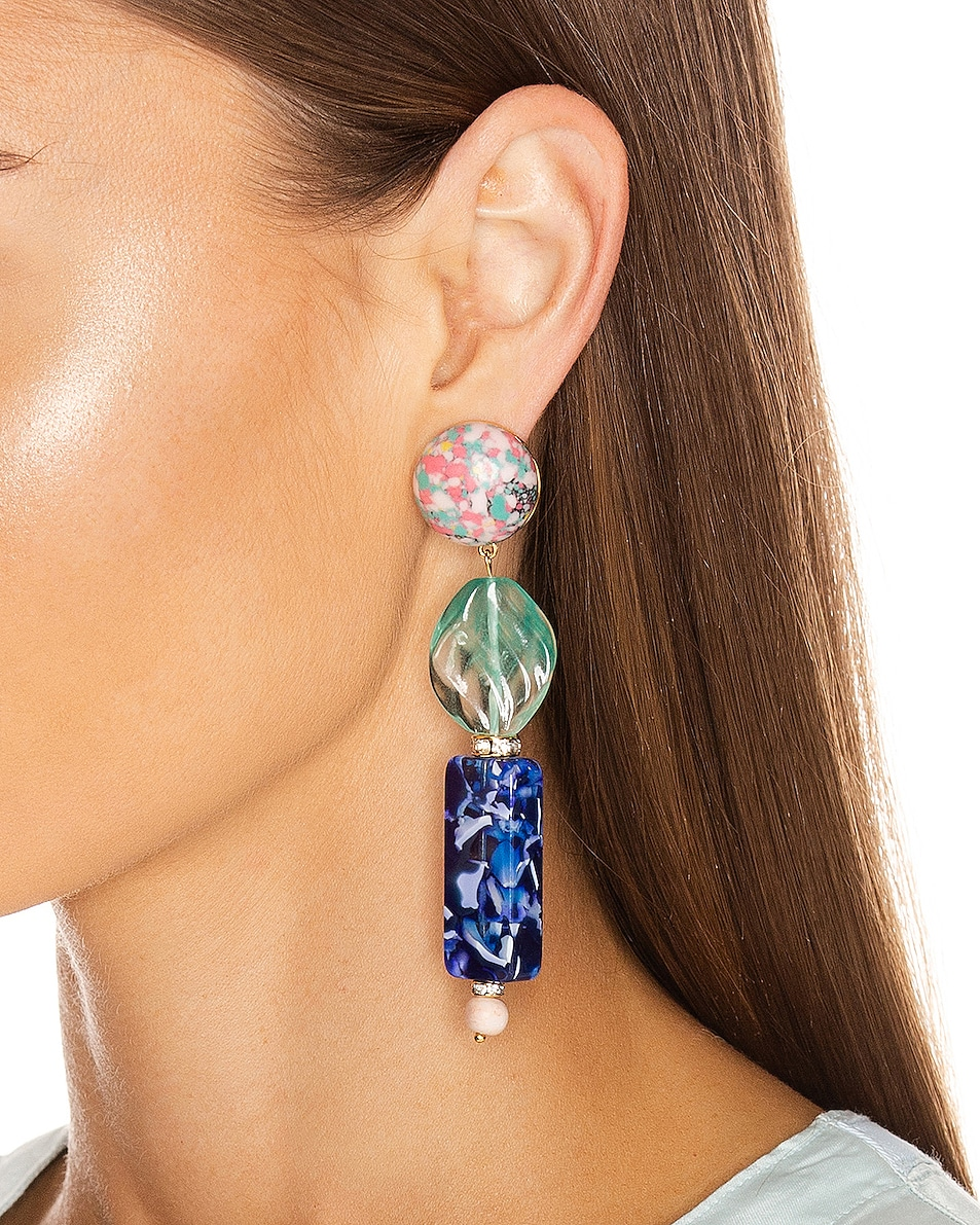 Image 2 of Lele Sadoughi Stacked Stone Earrings in Ocean Blue