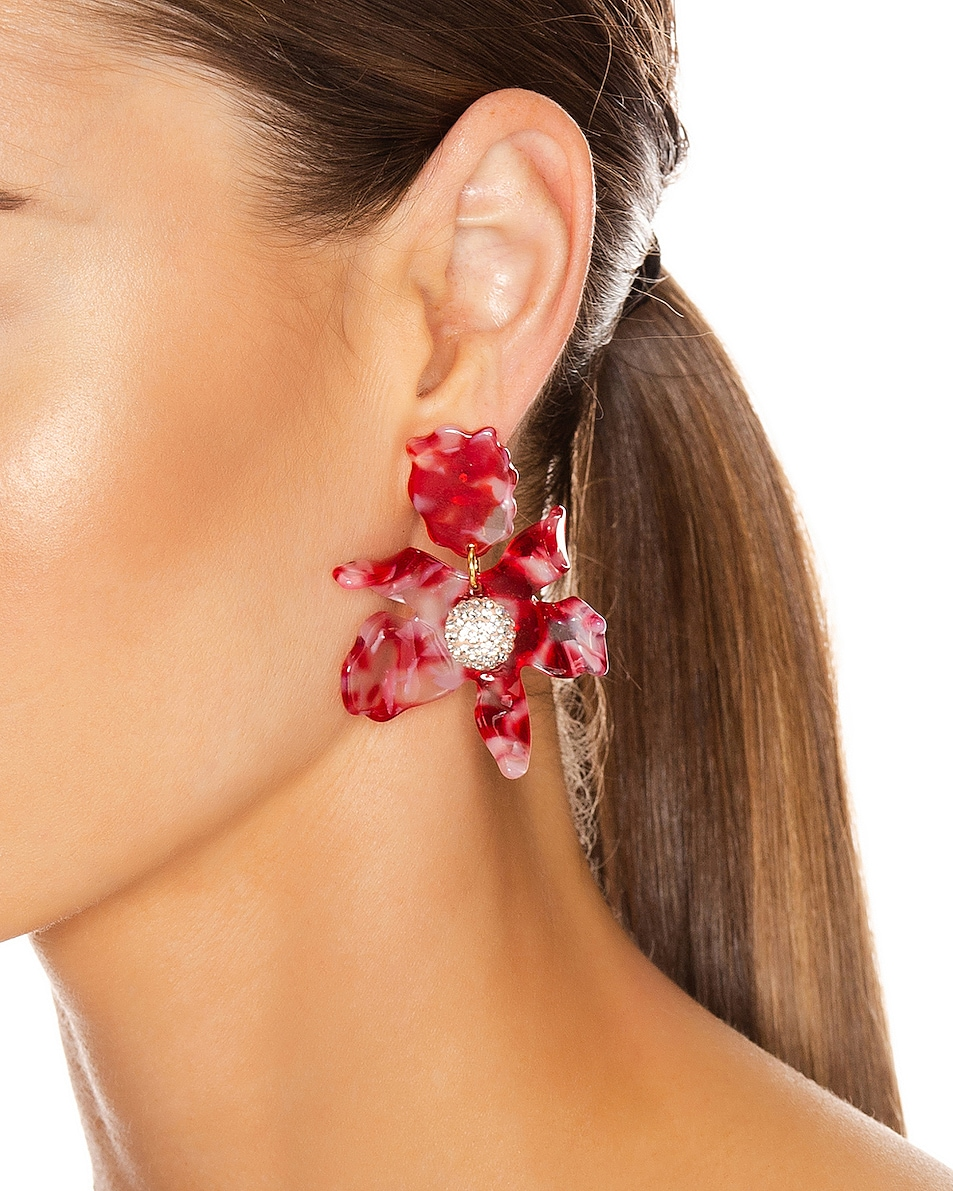 Image 2 of Lele Sadoughi Small Crystal Lily Earrings in Cherry