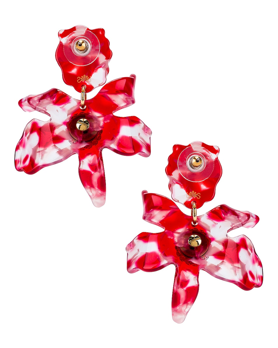Image 4 of Lele Sadoughi Small Crystal Lily Earrings in Cherry