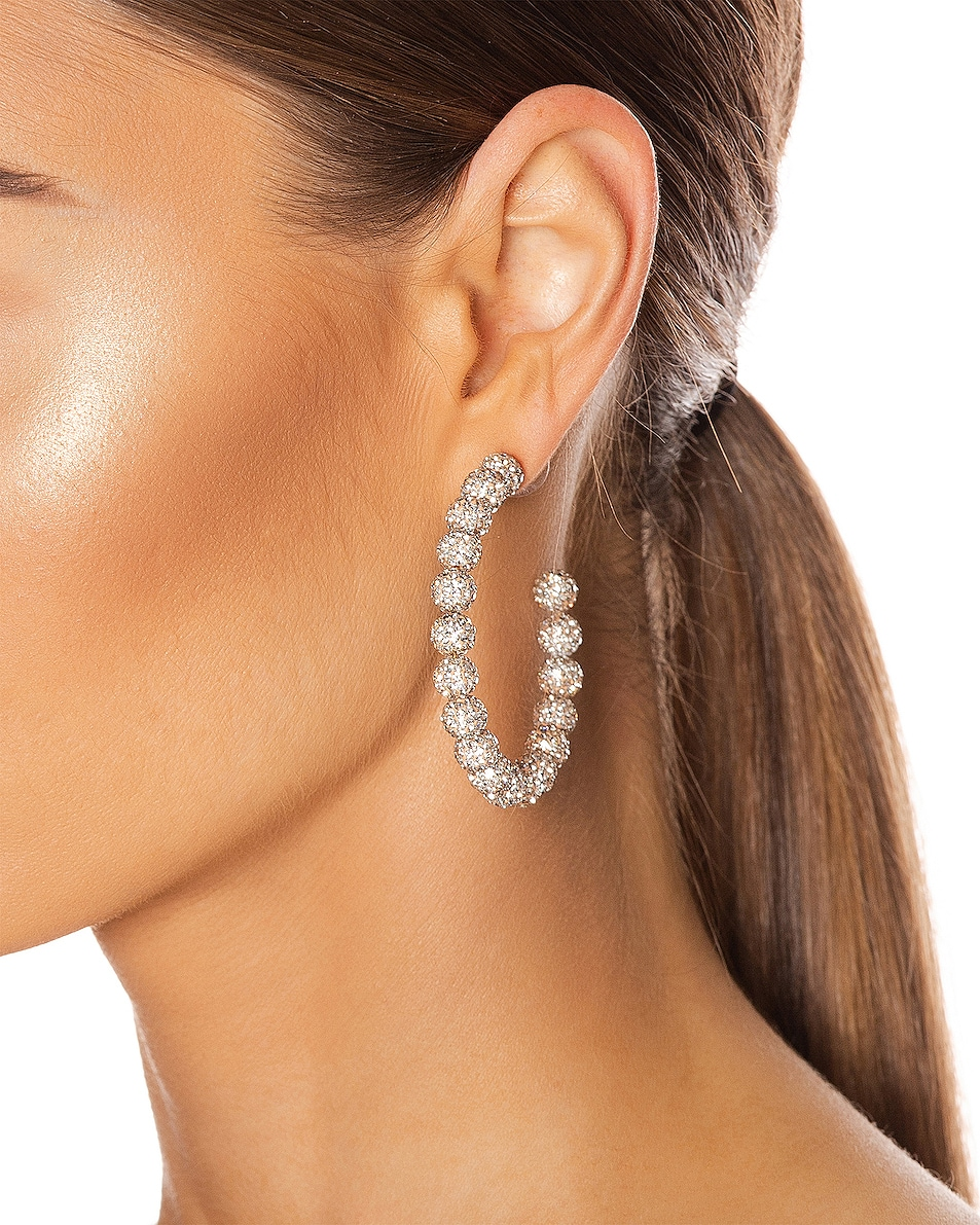Image 2 of Lele Sadoughi Slim Stardust Hoop Earrings in Crystal
