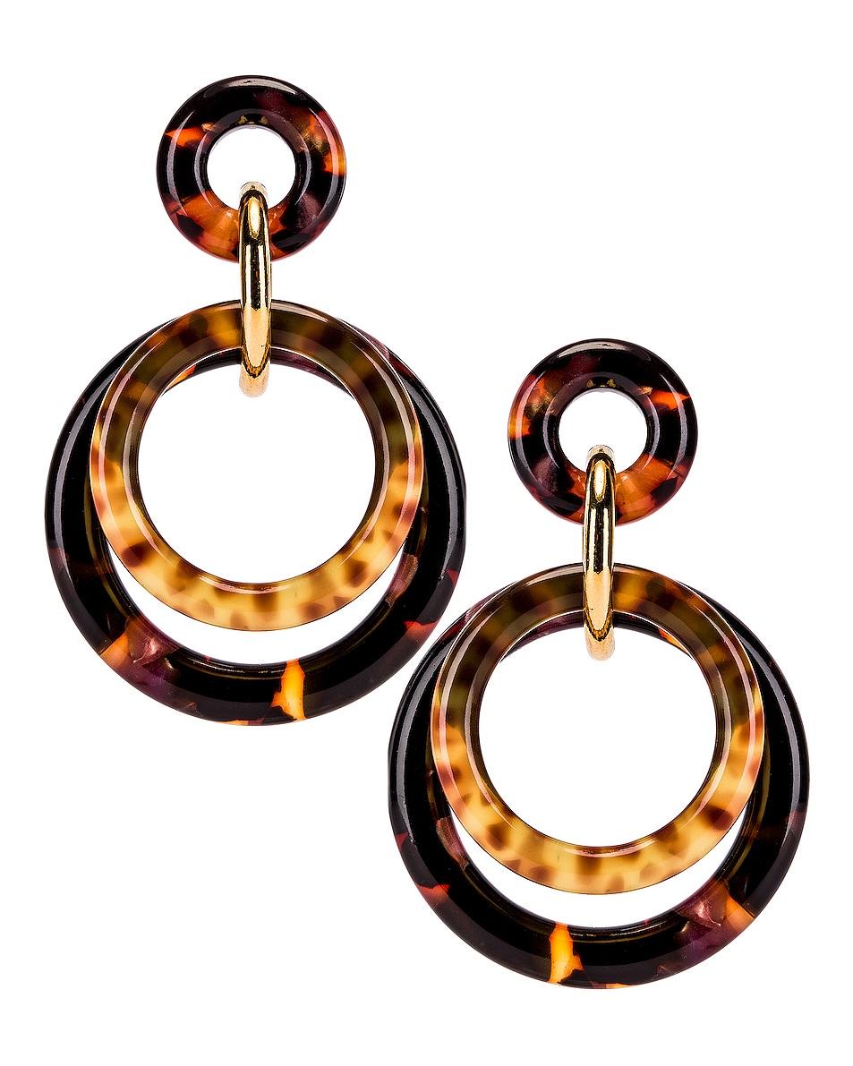 Image 1 of Lele Sadoughi Golden Double Ring Earrings in Rose Tortoise