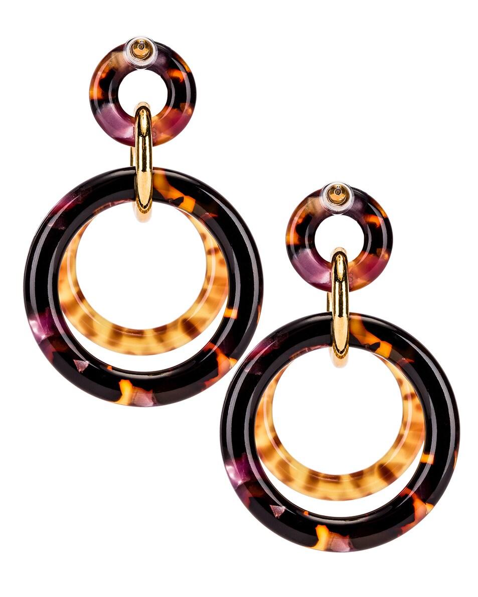 Image 4 of Lele Sadoughi Golden Double Ring Earrings in Rose Tortoise