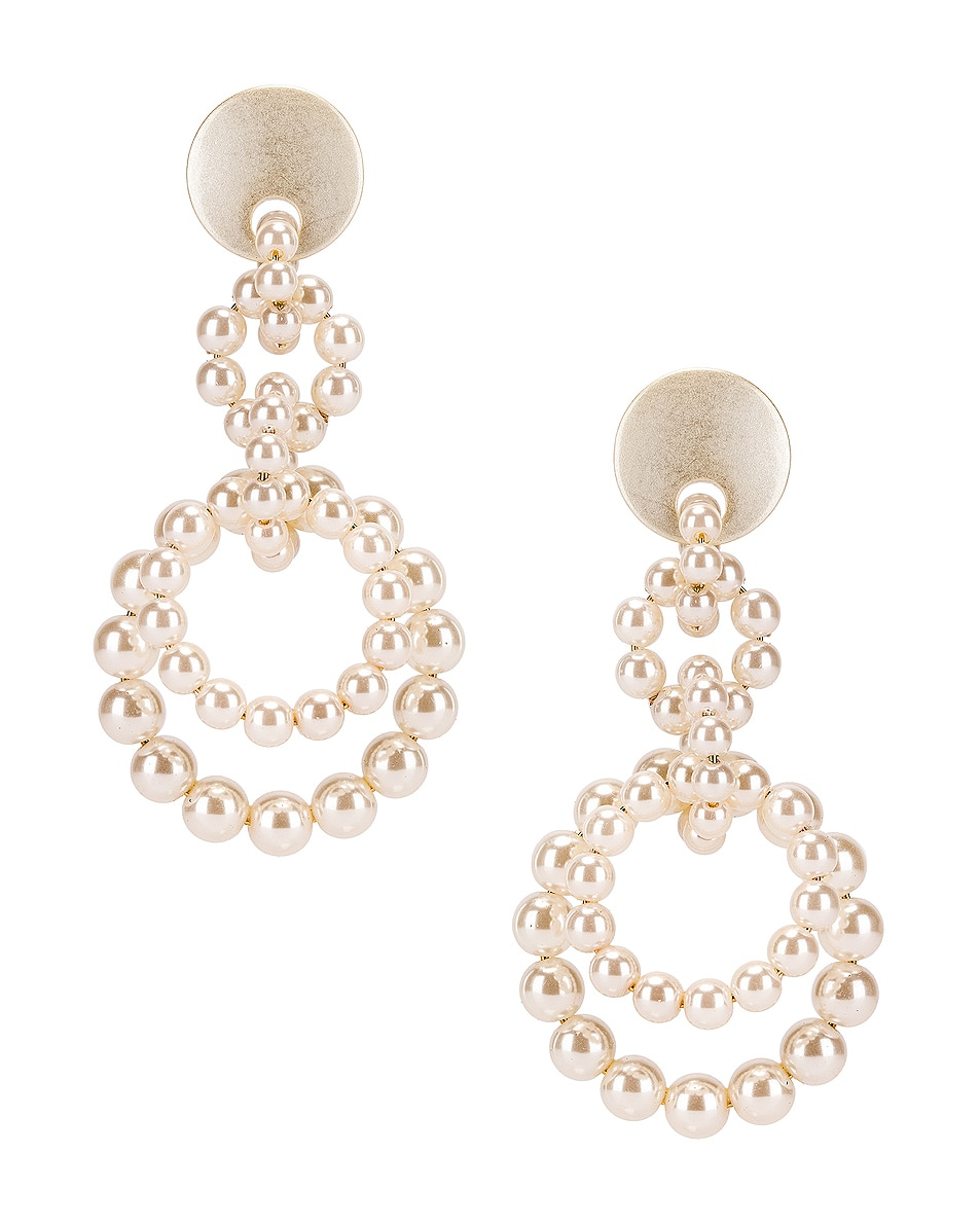 Image 1 of Lele Sadoughi Pearl Loop de Loop Earrings in Pearl