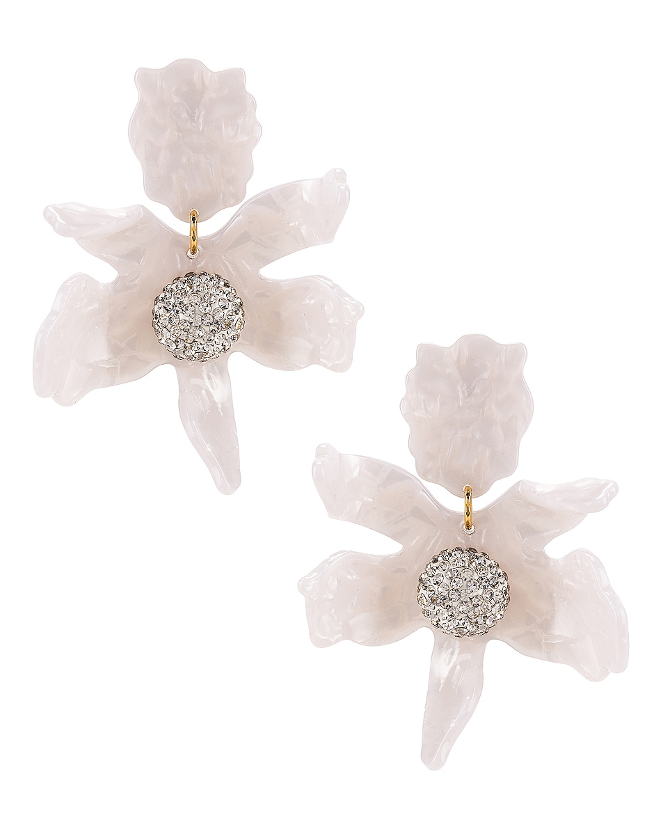 Image 1 of Lele Sadoughi Crystal Lily Earrings in White