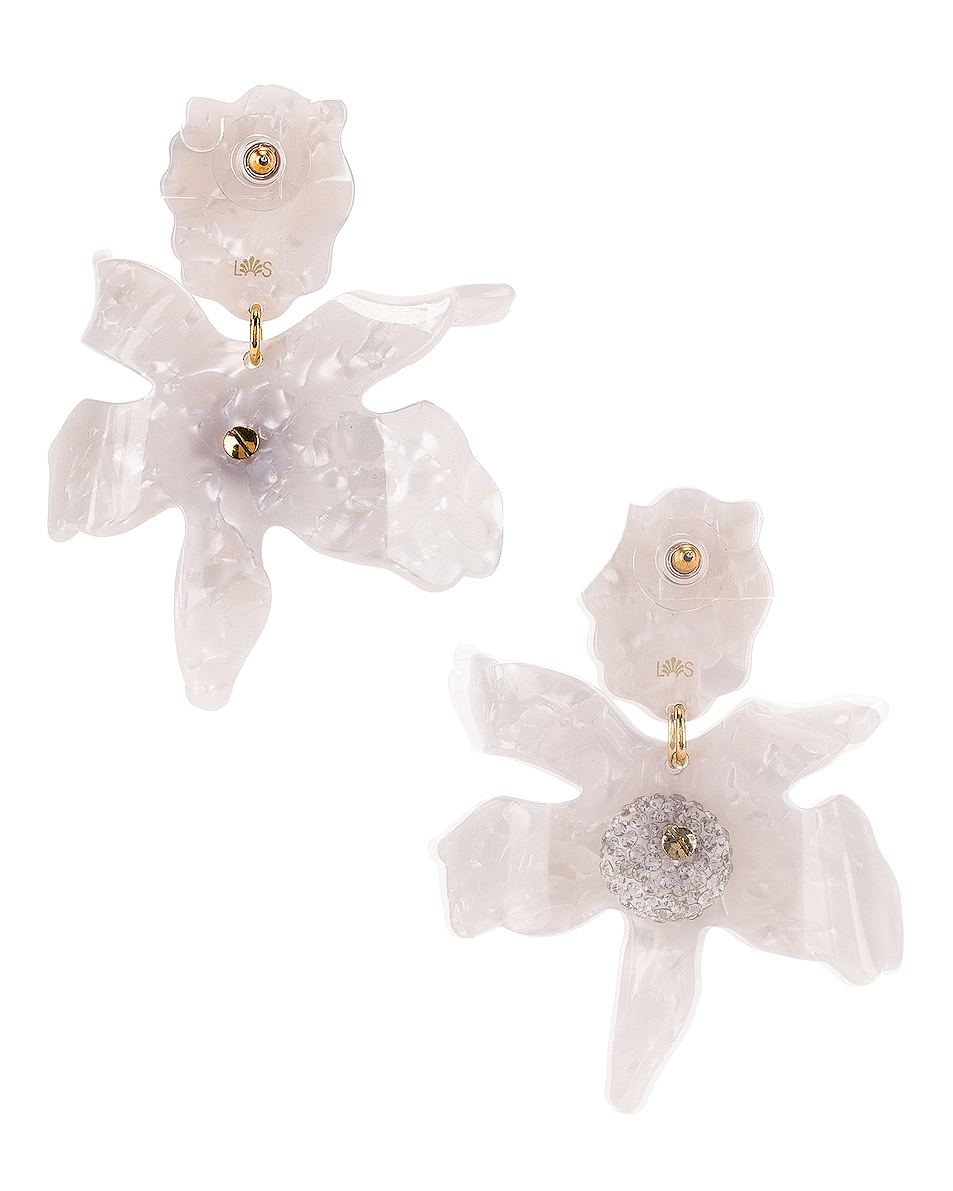 Image 4 of Lele Sadoughi Crystal Lily Earrings in White