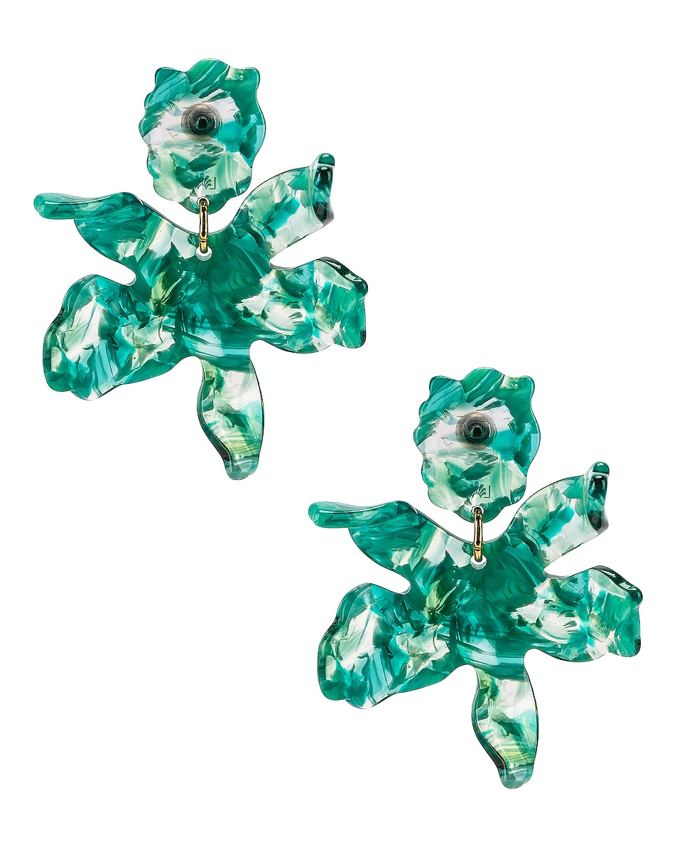 Image 1 of Lele Sadoughi Small Crystal Lily Earrings in Green