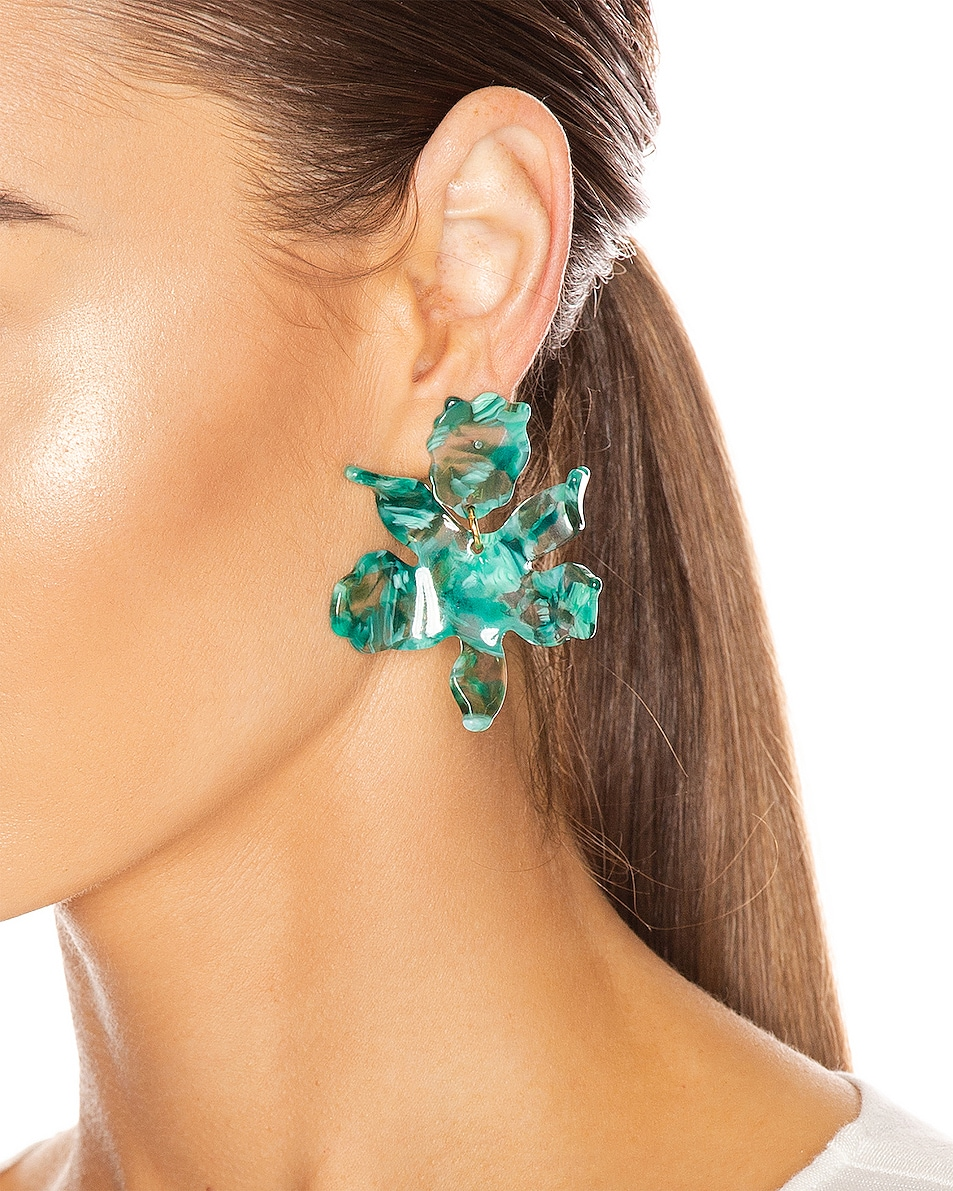 Image 2 of Lele Sadoughi Small Crystal Lily Earrings in Green