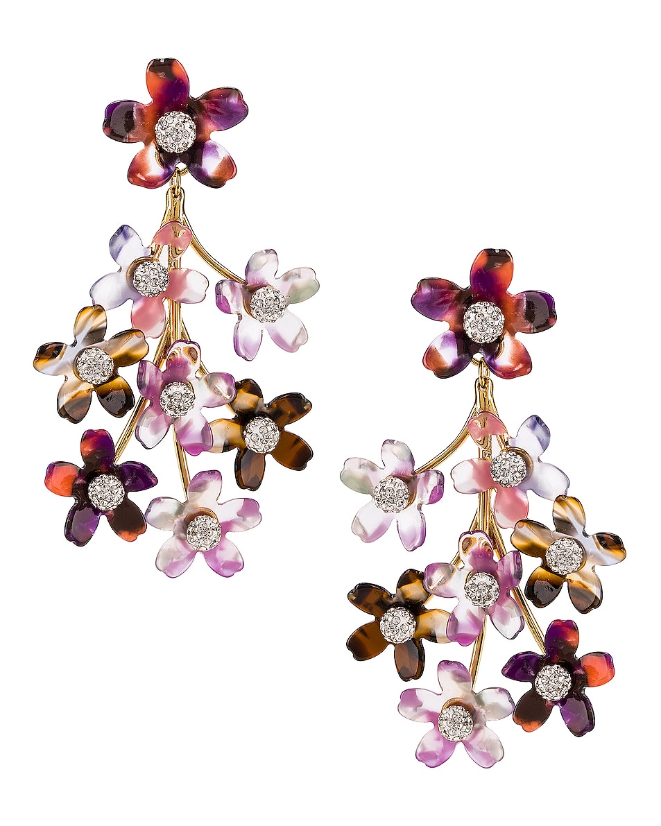Image 1 of Lele Sadoughi Small Crystal Floral Earrings in Purple Multi