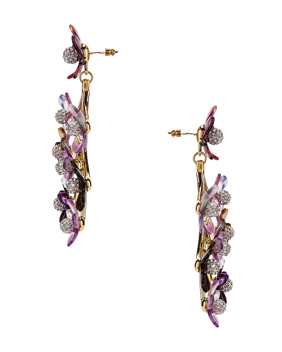 Image 3 of Lele Sadoughi Small Crystal Floral Earrings in Purple Multi
