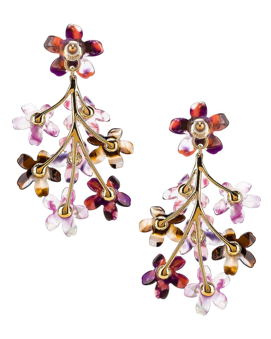 Image 4 of Lele Sadoughi Small Crystal Floral Earrings in Purple Multi