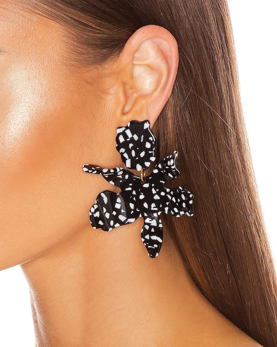 Image 2 of Lele Sadoughi Paper Lily Earrings in Black Terrazzo