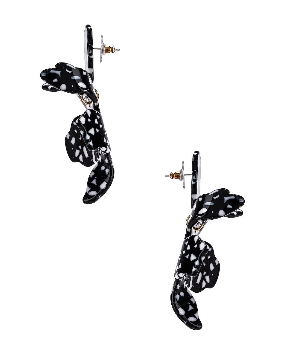 Image 3 of Lele Sadoughi Paper Lily Earrings in Black Terrazzo