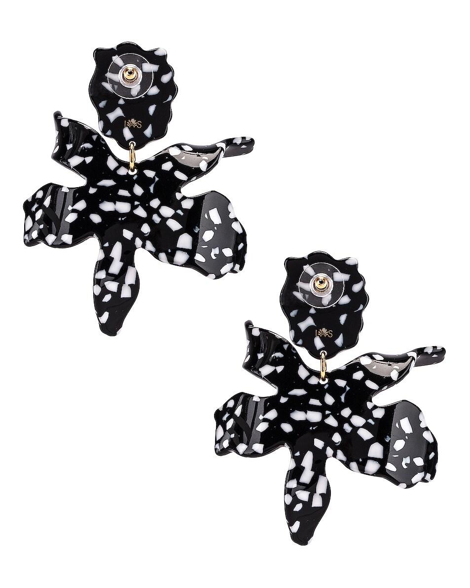 Image 4 of Lele Sadoughi Paper Lily Earrings in Black Terrazzo