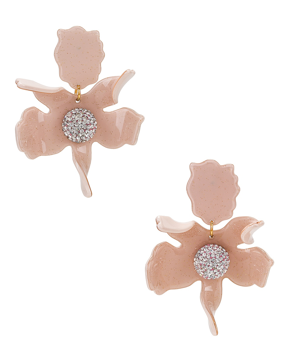 Image 1 of Lele Sadoughi Crystal Lily Pierced Earrings in Dusty Pink