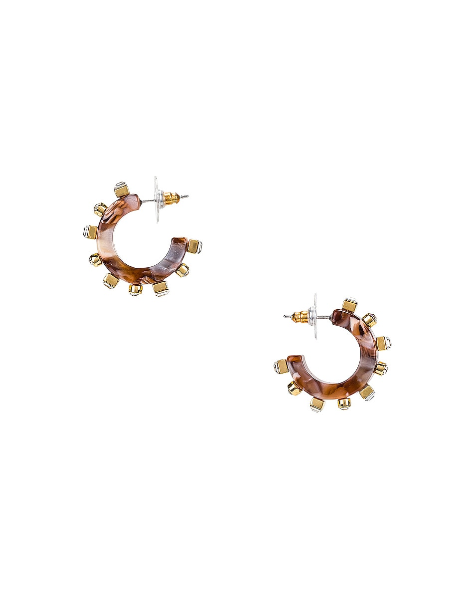 Image 1 of Lele Sadoughi Crystal Block Huggie Earrings in Camel Swirl