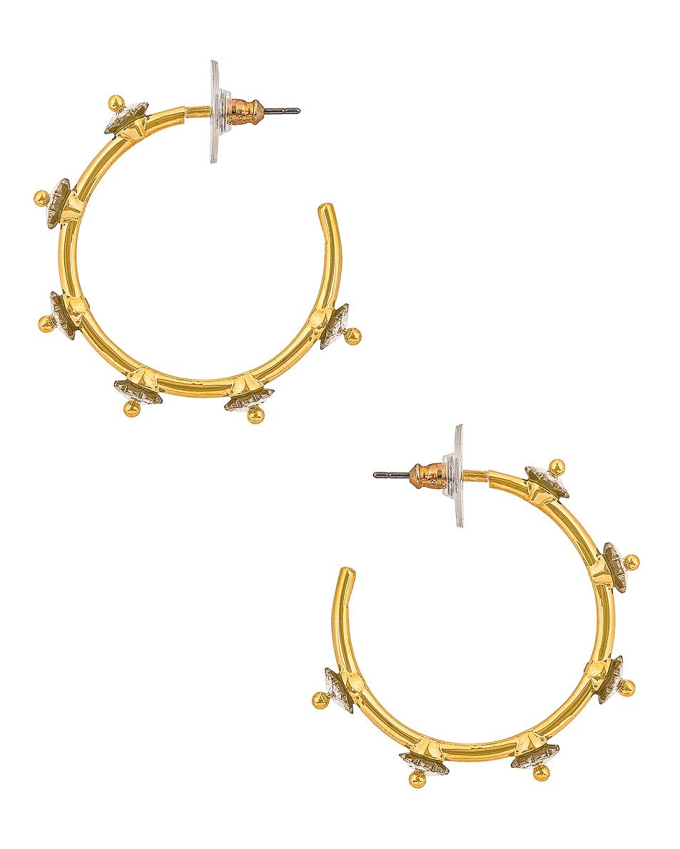 Image 1 of Lele Sadoughi Swarovski Carnation Hoop Earrings in Crystal