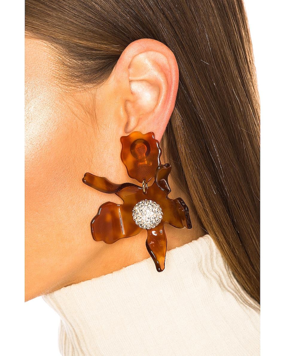 Image 2 of Lele Sadoughi Crystal Lily Earrings in Caramel