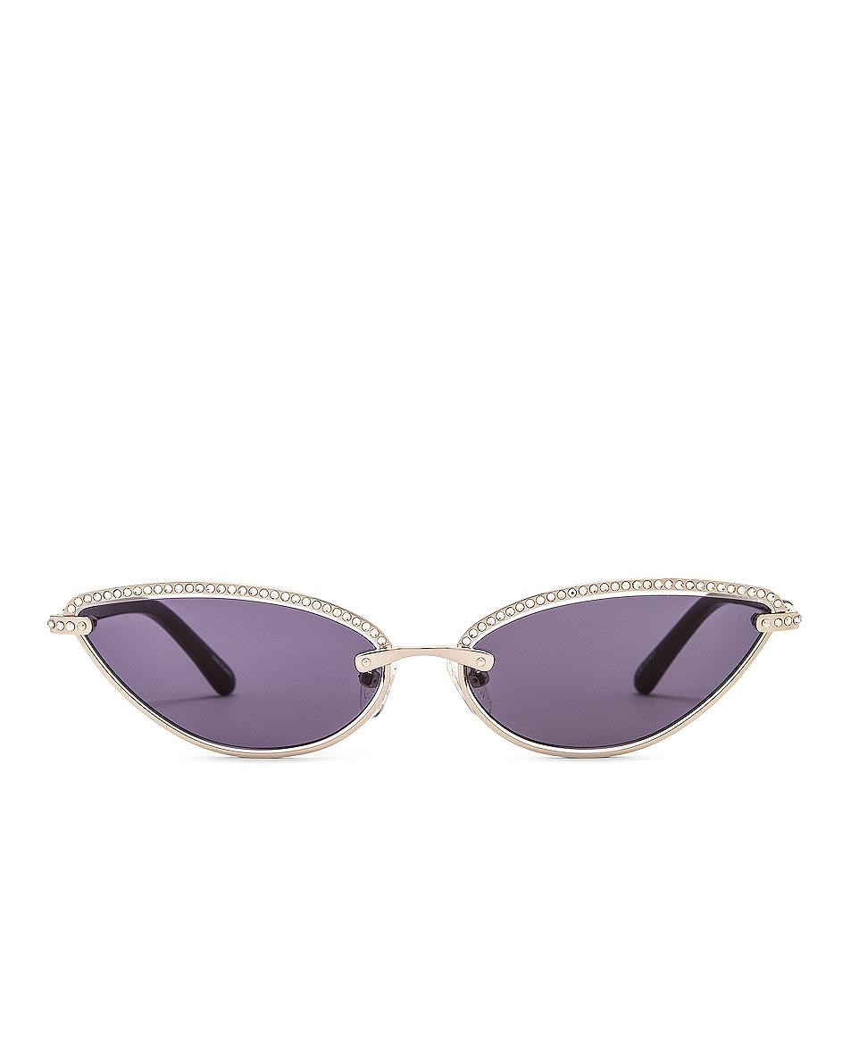 Image 1 of Magda Butrym Cat Eye Sunglasses in Silver & Crystal