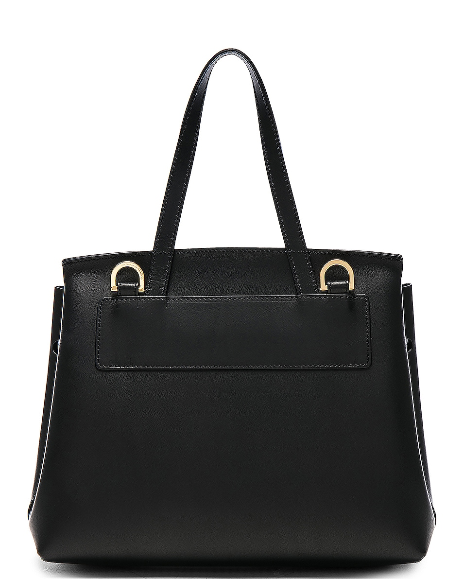 Image 3 of Mansur Gavriel Mini Lady Bag in Black & Blu Vegetable Tanned