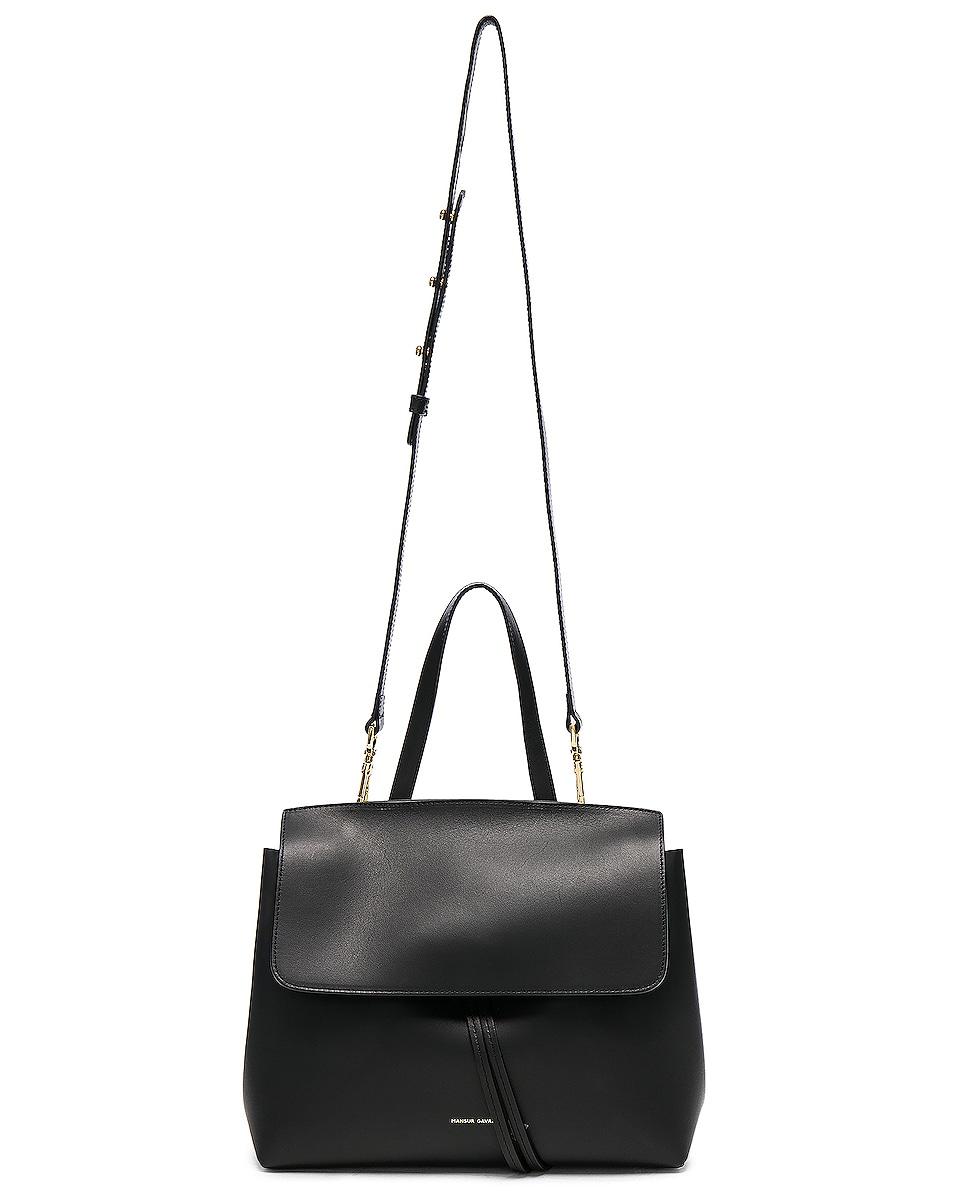 Image 6 of Mansur Gavriel Mini Lady Bag in Black & Blu Vegetable Tanned
