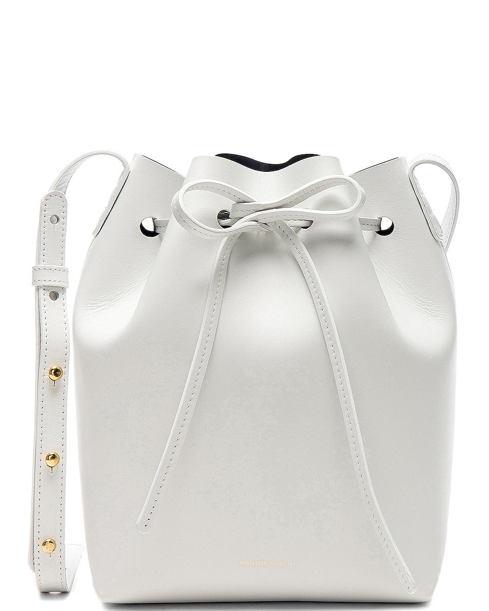 Image 1 of Mansur Gavriel Mini Bucket Bag in Blu Calf & White