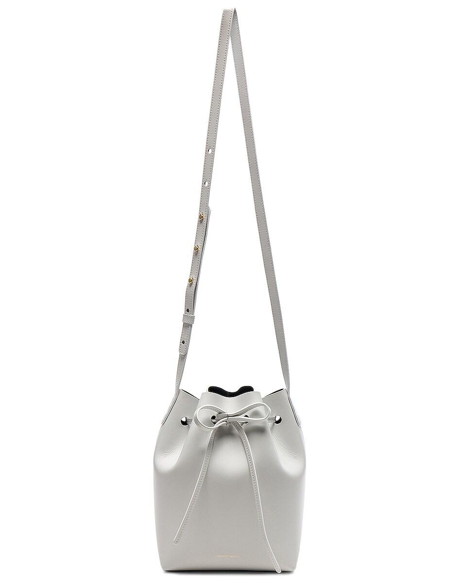 Image 6 of Mansur Gavriel Mini Bucket Bag in Blu Calf & White