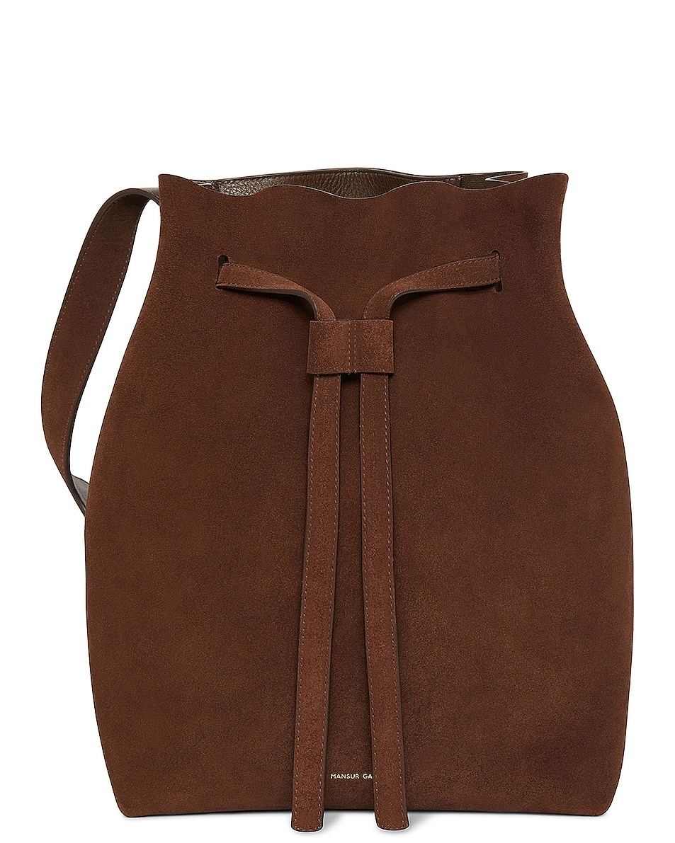 Image 1 of Mansur Gavriel Suede Drawstring Hobo in Chocolate