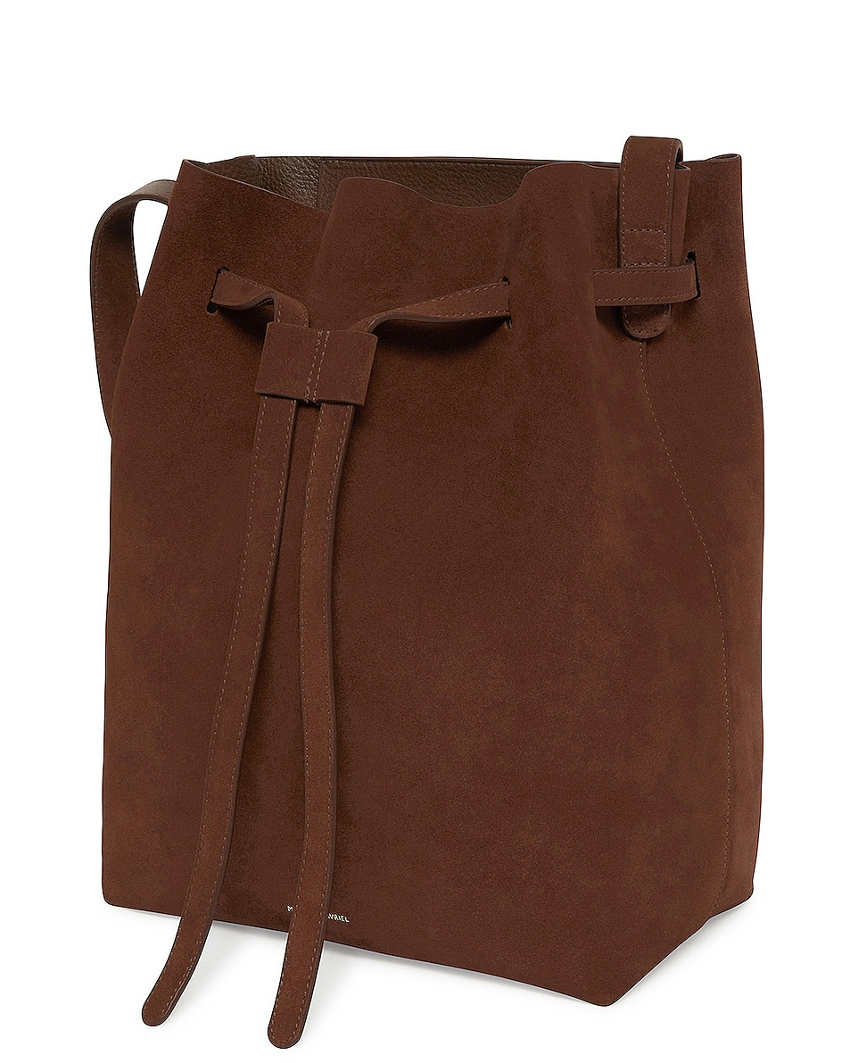 Image 3 of Mansur Gavriel Suede Drawstring Hobo in Chocolate