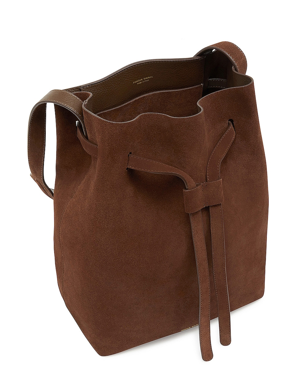 Image 4 of Mansur Gavriel Suede Drawstring Hobo in Chocolate