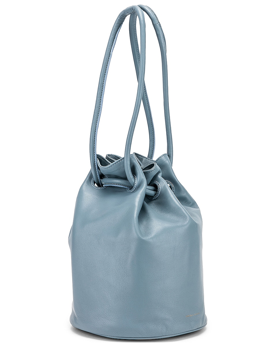 Image 4 of Mansur Gavriel Drawstring Pouch in Grey Blue